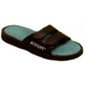 Massage Sandal  Black and Teal Velcro Strap